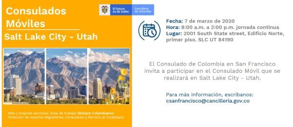 Consulado en San Francisco realizara jornada móvil en Salt Lake City - Utah el 7 de marzo del 2020