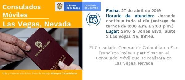 Consulado de Colombia en San Francisco realizará una jornada Móvil en Las Vegas, Nevada, el sábado 27 de abril