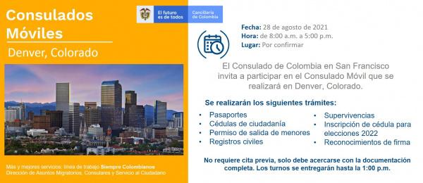 El Consulado de Colombia en San Francisco realizará una jornada de Consulado Móvil en Denver, el 28 de agosto de 2021