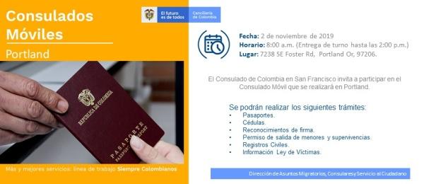 El Consulado de Colombia en San Francisco invita a la jornada de Consulado Móvil en Portland el 2 de noviembre de 2019