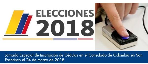Jornada Especial de Inscripción de Cédulas en el Consulado de Colombia en San Francisco el 24 de marzo