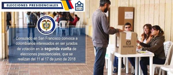 Consulado en San Francisco convoca a colombianos interesados en ser jurados de votación en la segunda vuelta de elecciones presidenciales, que se realizan del 11 al 17 de junio de 2018