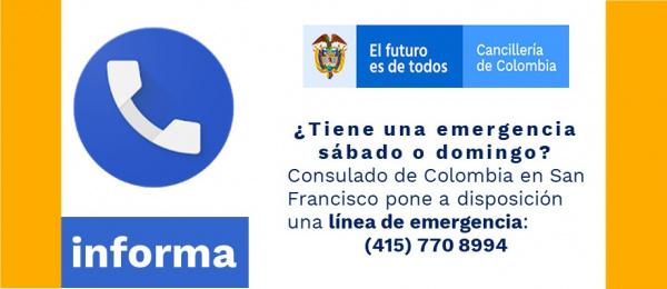 Línea de emergencia para sábados y domingos en el Consulado de Colombia