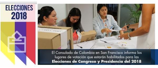 El Consulado de Colombia en San Francisco informa los lugares de votación que estarán habilitados para las Elecciones de Congreso y Presidencia del 2018