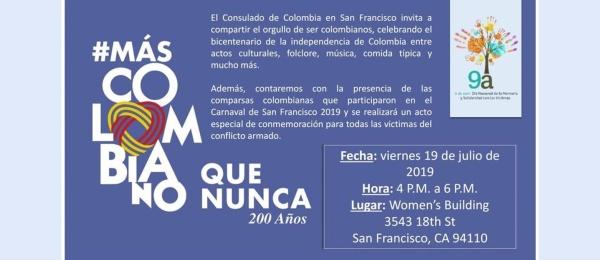El Consulado de Colombia en San Francisco invita a la conmemoración del Bicentenario de la Independencia Nacional el próximo 19 de julio de 2019
