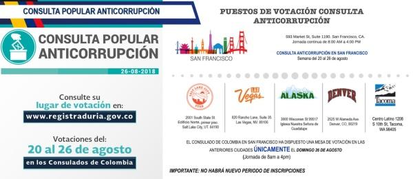 Consulado de Colombia en San Francisco publica los puestos de votación de la Consulta Popular Anticorrupción a realizarse del 20 al 26 de agosto de 2018